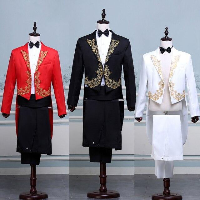 Мода Фрак Костюмы Мужские Вышивка Золотой Красный Черный Белый Пиджаки Маг Платье Этап Певица Пром Свадебный Жених Мужчины Смокинг