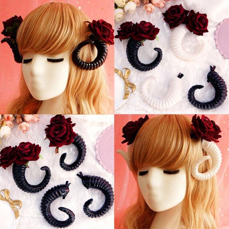 Gothic Lolita   Headwear   Cosplay Prop Devil horn Pога Headband Hairband Sheep Horn Hair clip