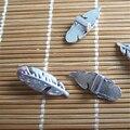 20 шт. старинное серебро перо в форме слайдер проставки для 5 * 2 мм плоский кожаный шнур штуцеры ювелирных изделий