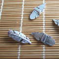 20 pcs Antique Silver Feather Shaped Slider Spacers For 5*2 mm Flat Leather Cord Jewelry Fittings