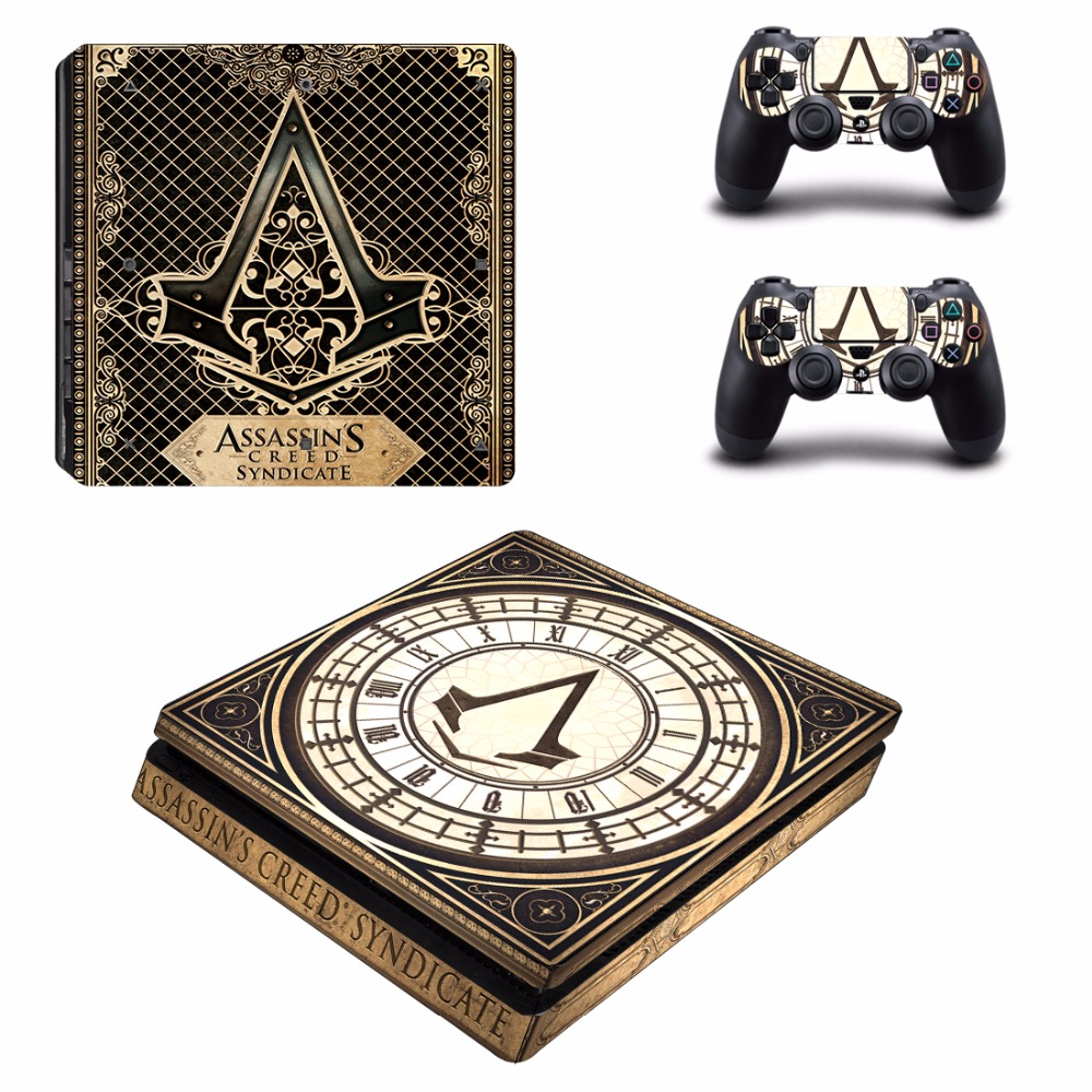 Game Assassins Creed PS4 Slim Skin Sticker For Sony PlayStation 4 Console and 2 Controllers PS4 Slim Skins Sticker Decal Vinyl