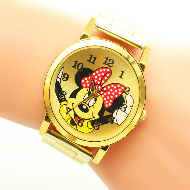 Hot Fashion Mickey Watch Women Full Steel Quartz Ladies Wrist Watches Crystal Fa