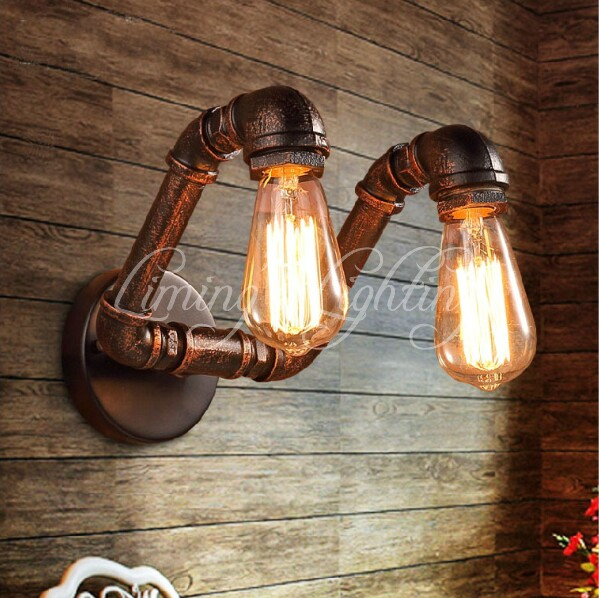 Double 2 Heads Water Pipe Vintage Scone E27 Plated Loft American Retro Vintage Iron Wall lamp Lights Antique Industrial 1 heads american industrial vintage loft style creative personality iron water pipe restaurant retro wall lamp free shipping