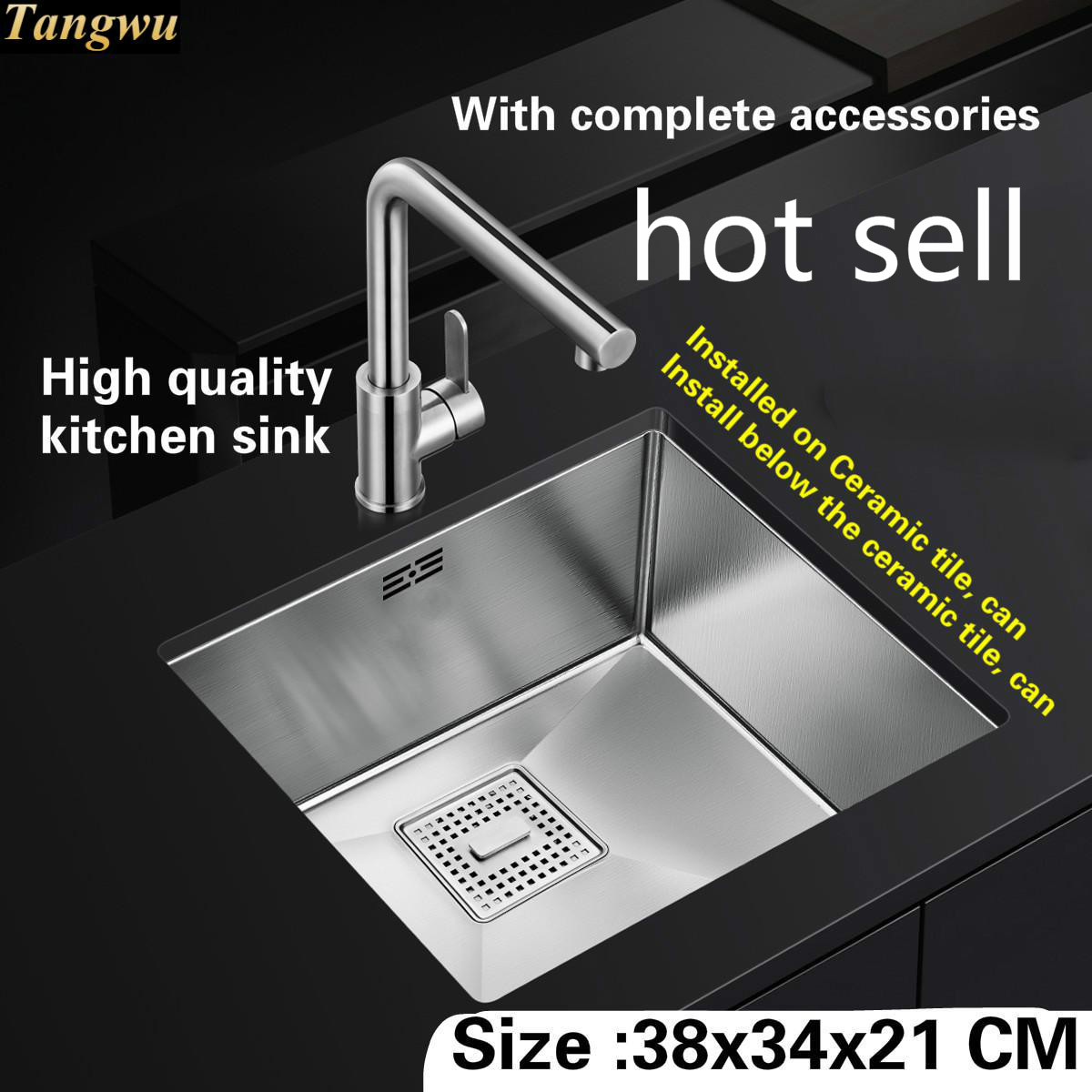 Tangwu High-grade Kitchen Sink Food Grade Stainless Steel Thick Manual Mini Small Single Slot 380x340x210 MM