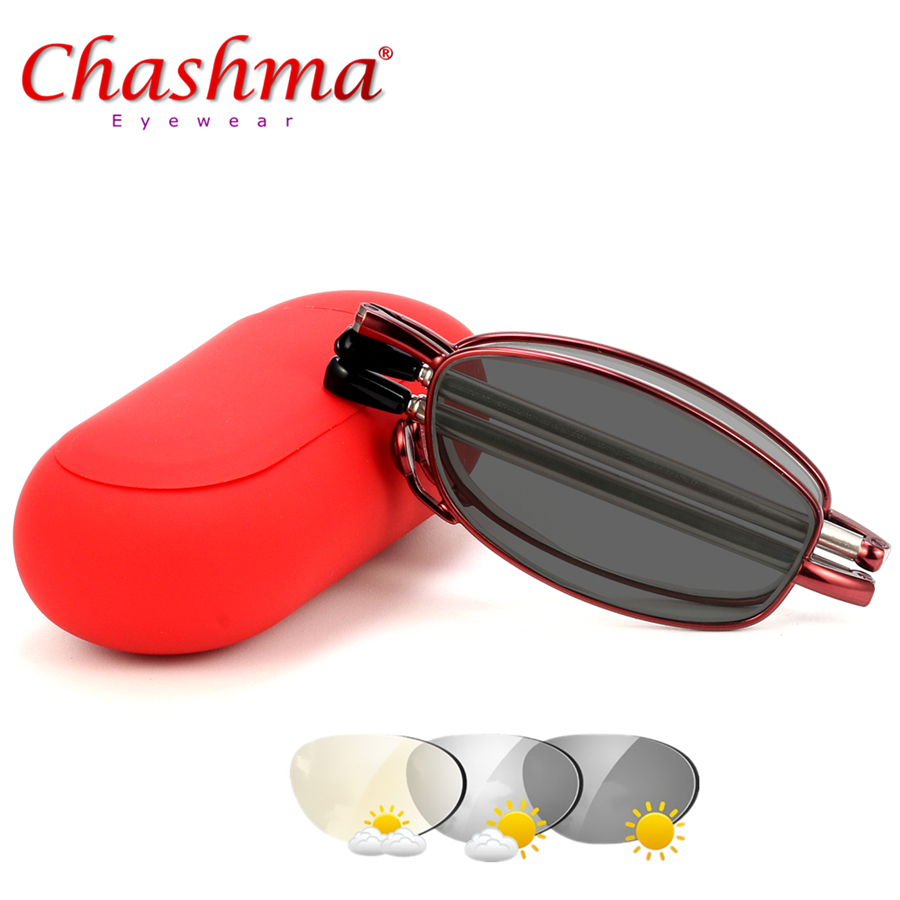 Transition Sunglasses Fold Photochromic Reading glasses Male Hyperopia with Diopter Outdoor