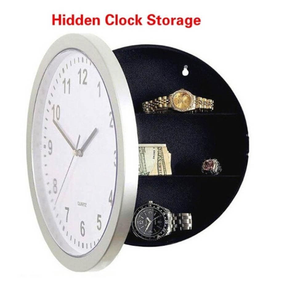 Creative Hidde Secret Storage Wall Clock Money Cash Jewellery Keys Safebox Clock Home Decroation Office Security Safe