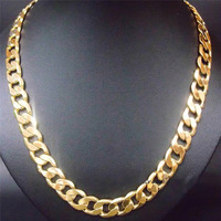24 12mm 24k yellow gold filled men's necklace curb chain jewelry (STAMPED)