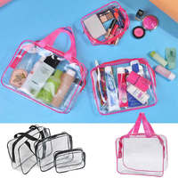 3pcs/set Clear Waterproof   Storage   Bags Travel Wash Bag Pouch For Home Sundries   Storage     Tools