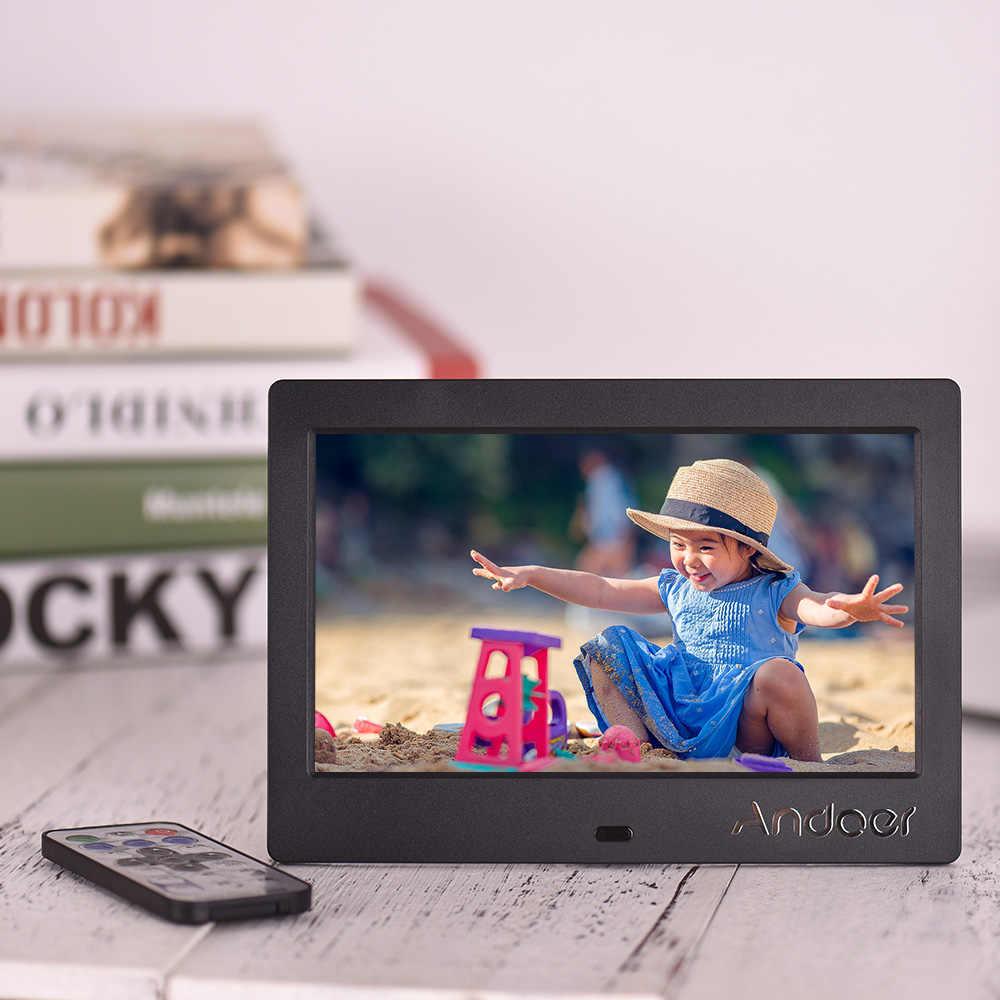 "Andoer 7"" IPS HD Screen 1024*600 Digital Photo Frame Digital Album Music Video Playing Clock Alarm Calender Multiple Languages"