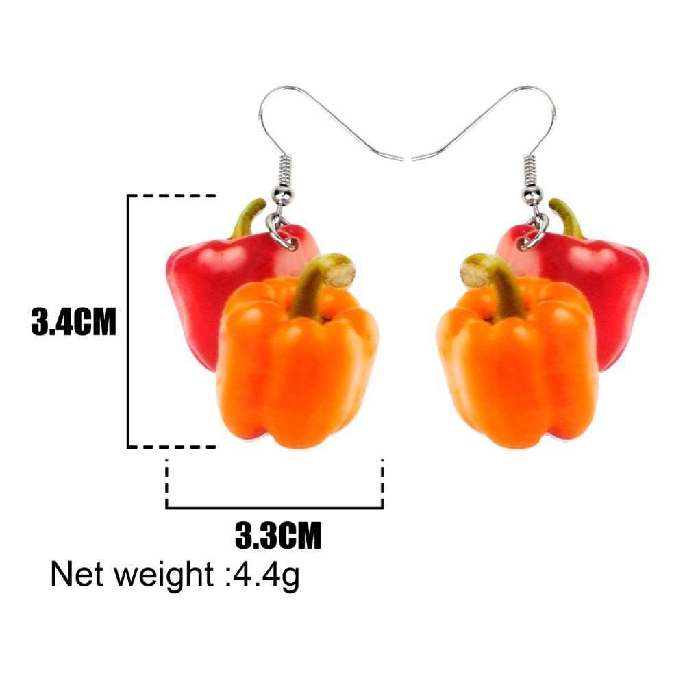 Bonsny Acrylic Cute Red Bell Pepper Earrings Big Long Dangle Drop Novelty Vegetable Jewelry For Women Girls Ladies Teens Gift