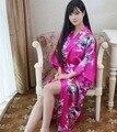 Плюс Размер Мода Дамы Лето Кимоно Длинный Банный Халат Платье Ярко-Розовый Китайских женщин Район Юката Ночная Рубашка Pijama Mujer Msj005