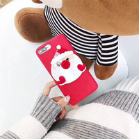 Novelty Merry Christmas Santa Claus 3D Cute Cartoon Mobile Phone Cases For IPhone7 7Plus Silicone Plastic