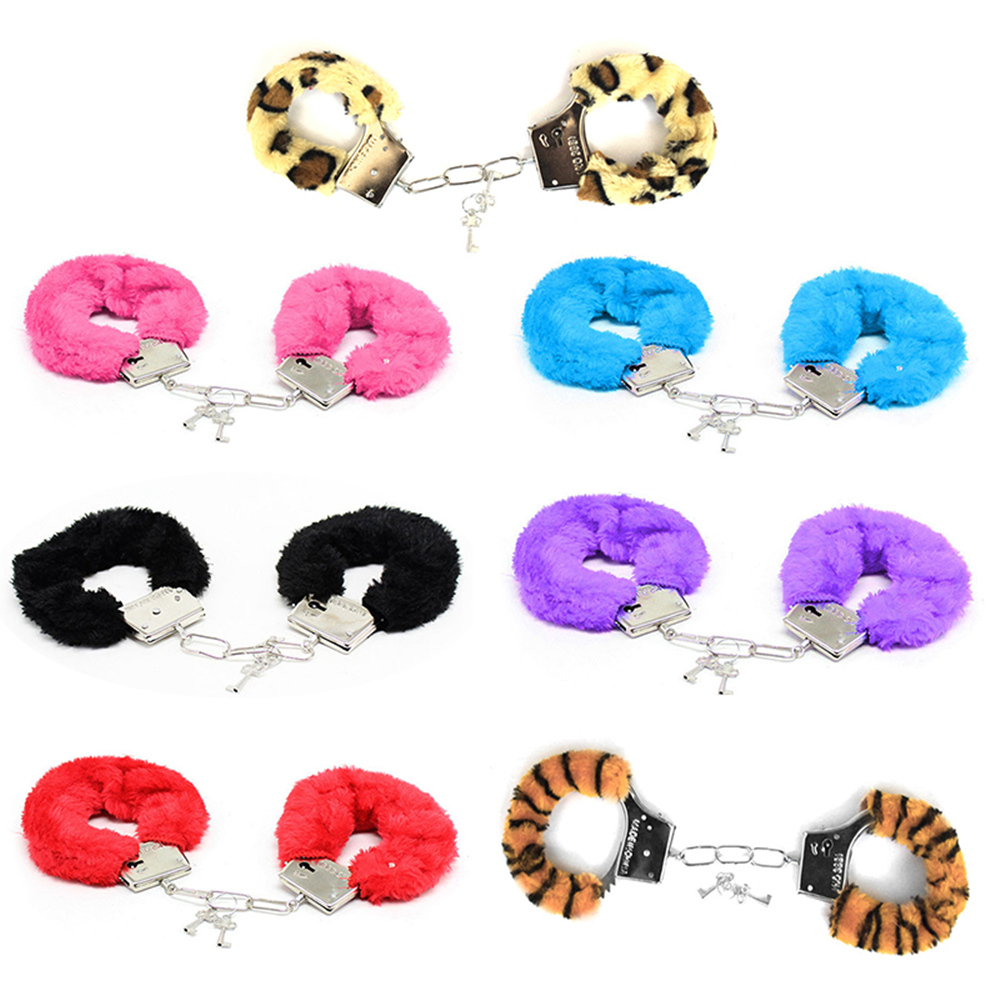 Erotic Sexy Accessories Metal Plush Bundle Handcuffs For Slave Fetish Role Playing BDSM Bondage Sex Game For Couples Women