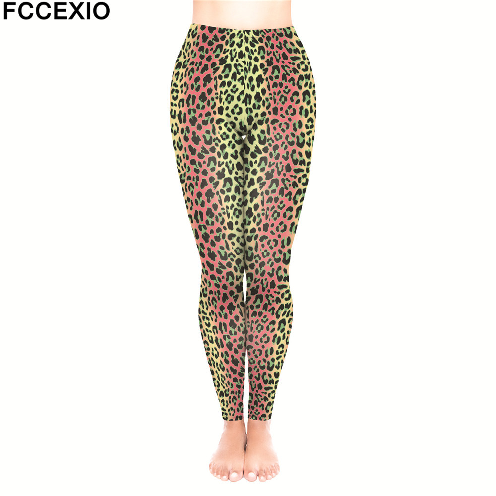 87a3e3eed255 FCCEXIO Brand Female Workout Pants High Waist Fitness Legging New Style Pink  Leopard Print Leggins Women Leggings Slim Trousers-in Leggings from Women's  ...