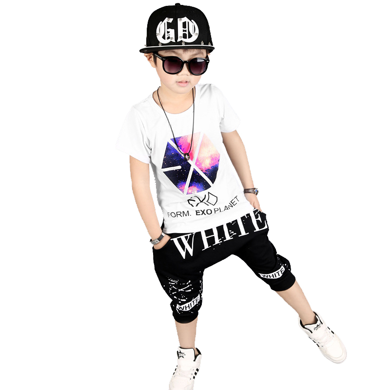 Summer suits for boys kids hip hop clothing 100% Cotton t-shirt+boys shorts 2pcs black boys clothes for 3 5 6 8 10 12 years