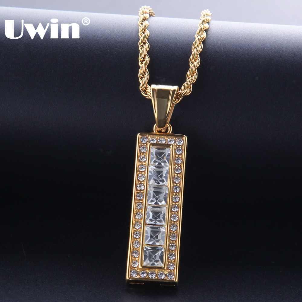 Uwin Tag ze stali nierdzewnej wisiorek i łańcuszki złote kryształy górskie mrożona hip hop naszyjnik dla mężczyzn Drop Shipping moda biżuteria