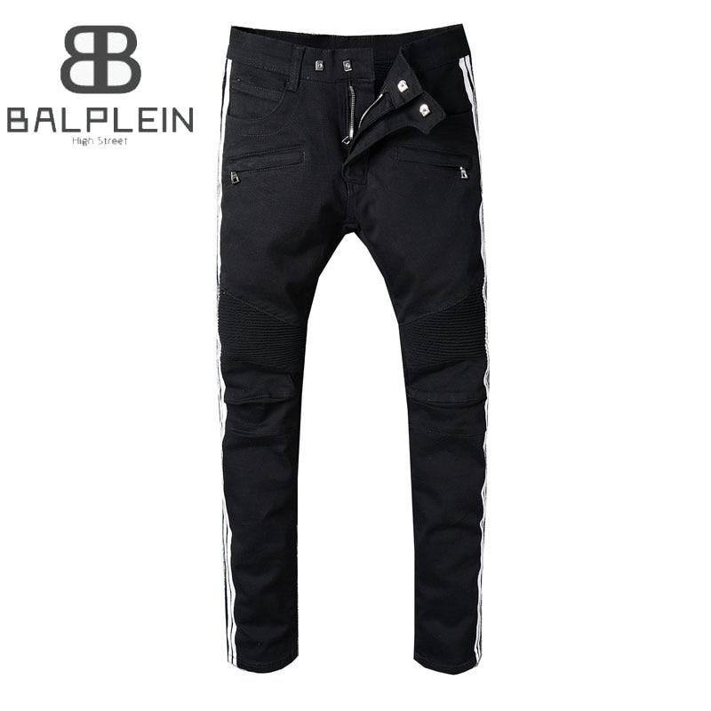 Classic Black Color White Stripe Fashion Mens Jeans Slim Fit Denim Motor Jeans Homme Pants Balplein Brand Biker Jeans Men men s cowboy jeans fashion blue jeans pant men plus sizes regular slim fit denim jean pants male high quality brand jeans
