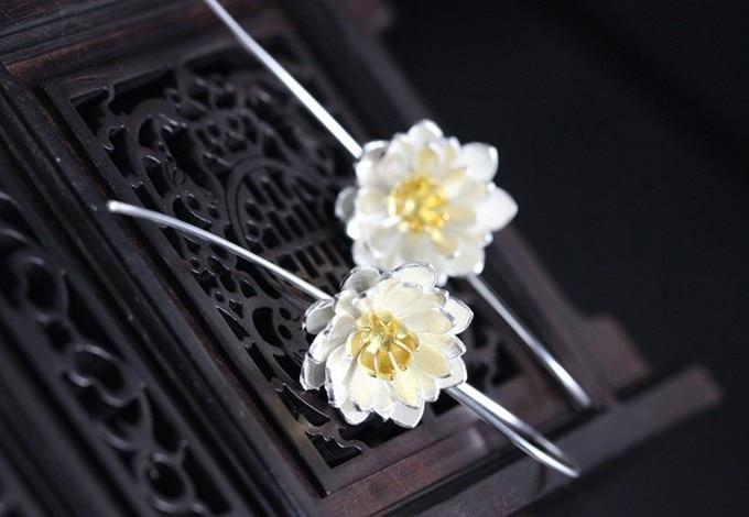 Jauns ierašanās 925 sudraba elegants Lotus piliens ziedu auskari - Modes rotaslietas - Foto 2