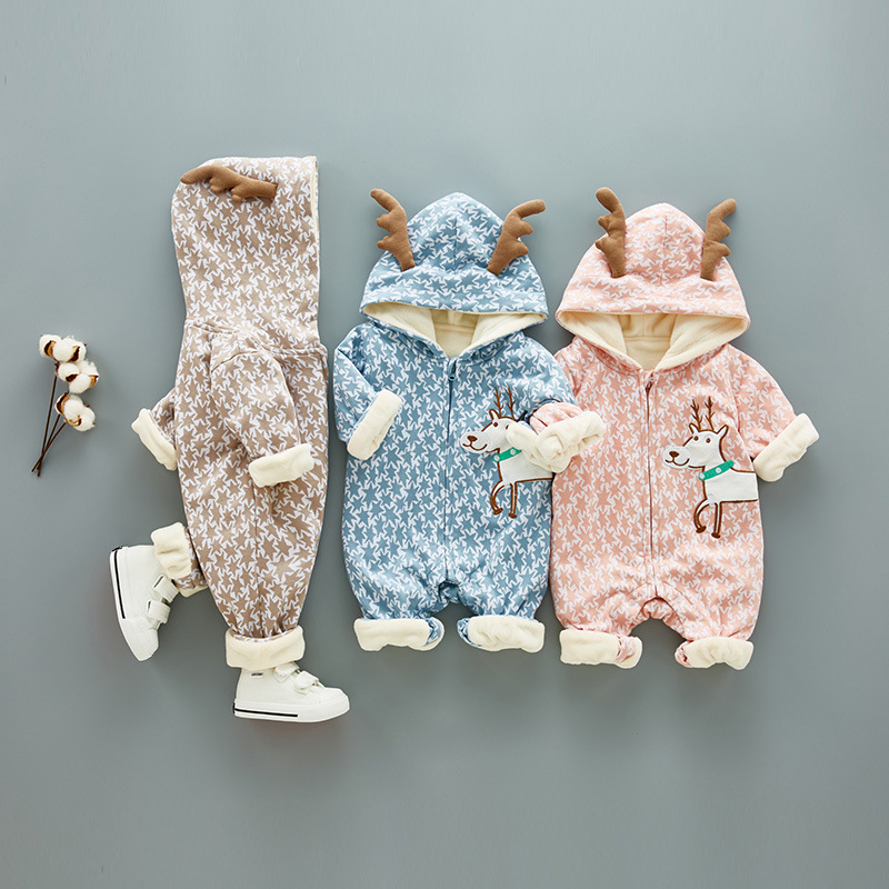 WYNNE GADIS Winter Newborn Baby Boys Cartoon Deer Long Sleeve Hooded Jumpsuits Kids Girls Thick Fleece Rompers Infant Clothes winter newborn bear jumpsuit patchwork long sleeve baby rompers clothes baby boys jumpsuits infant girls clothing overall
