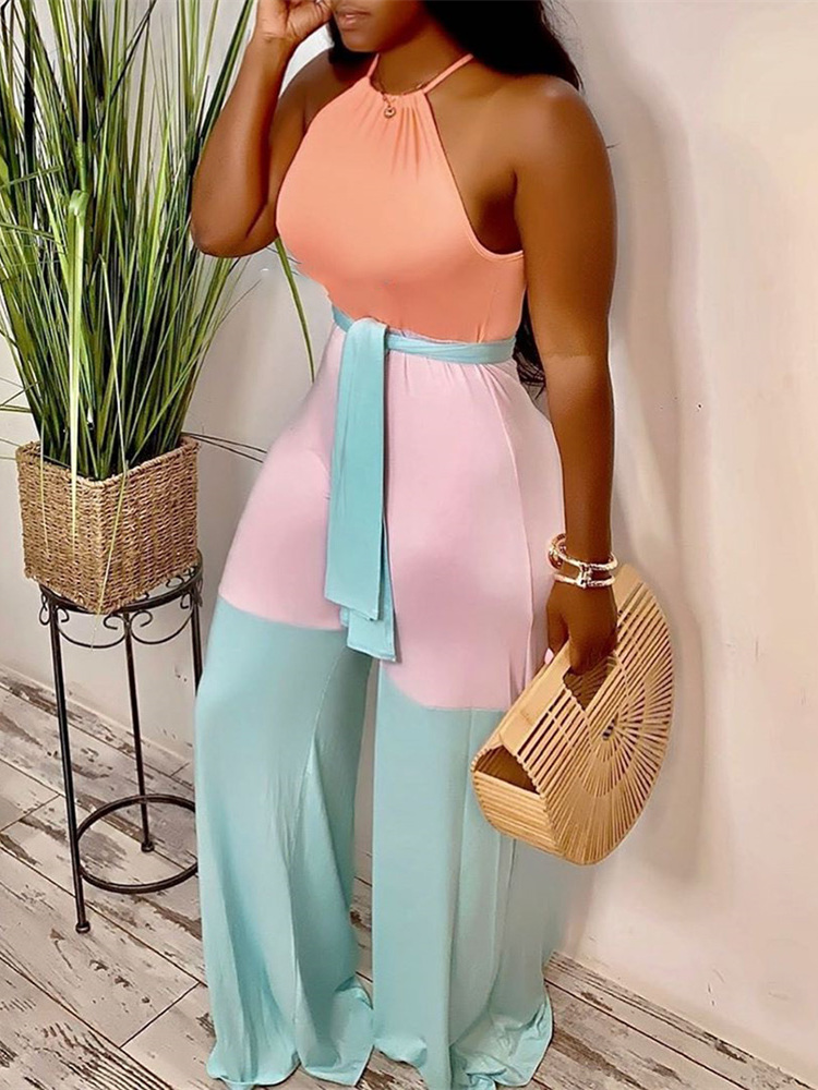 2019 Summer Women Vacation Holiday Boho Leisure Jumpsuit Female Casual Plus Size Halter Contrast Color Sleeveless Jumpsuits