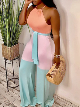 цена на 2020 Summer Women Vacation Holiday Boho Leisure Jumpsuit Female Casual Plus Size Halter Contrast Color Sleeveless Jumpsuits