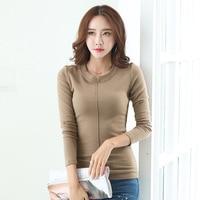 Winter New Long Sleeve Blouse Patchwork Sexy Slim Cotton O Neck Women Tops Korean Style Fashion