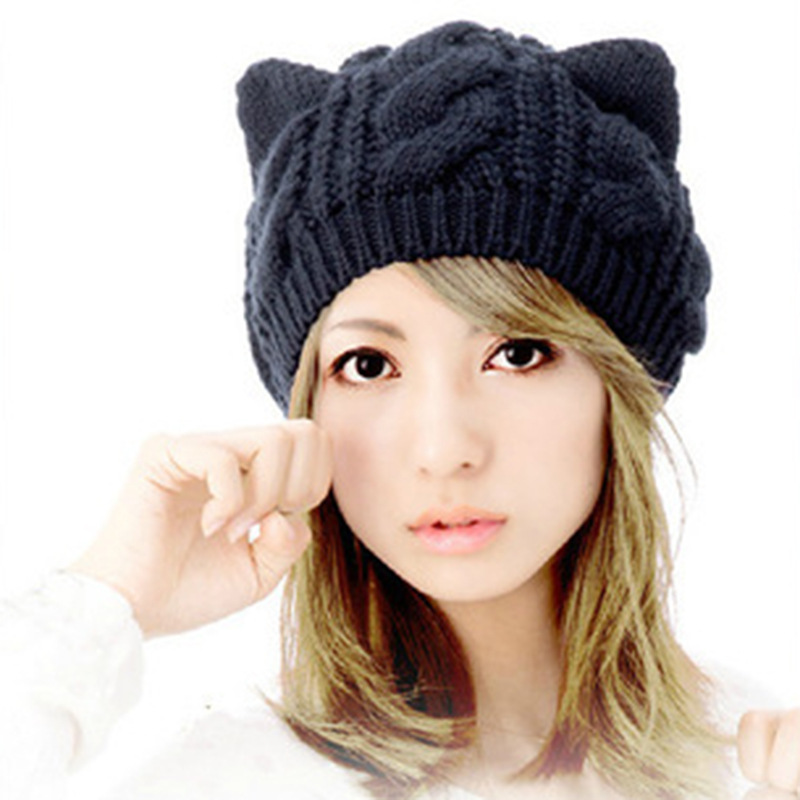 New Fashion Women's Autumn Caps Cat Ear Cute Knitted Hip Hop Casual Warm Men Winter Hat Female Skullies Beanies #CAP6A39 skullies beanies the new russian leather thick warm casual fashion female grass hat 93022