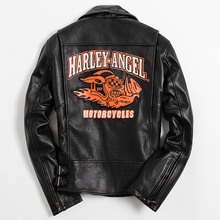 2017 New Men Black Genuine Leather Motorcycle Jacket Oblique Zipper Real Cowhide Slim Fit Men Short Biker Coat FREE SHIPPING