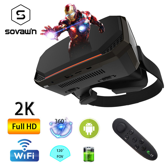Wi-Fi 2K HDMI All in One 360 Degree Virtual Reality Glasses Immersive VR Headset 3D Android Cardboard with Controller 2GB/16GB 1
