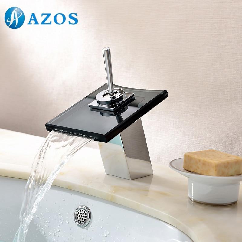 bathroom basin faucets led light chrome polish black glass waterfall spout deck mount single handle toilet bathroom basin furniture