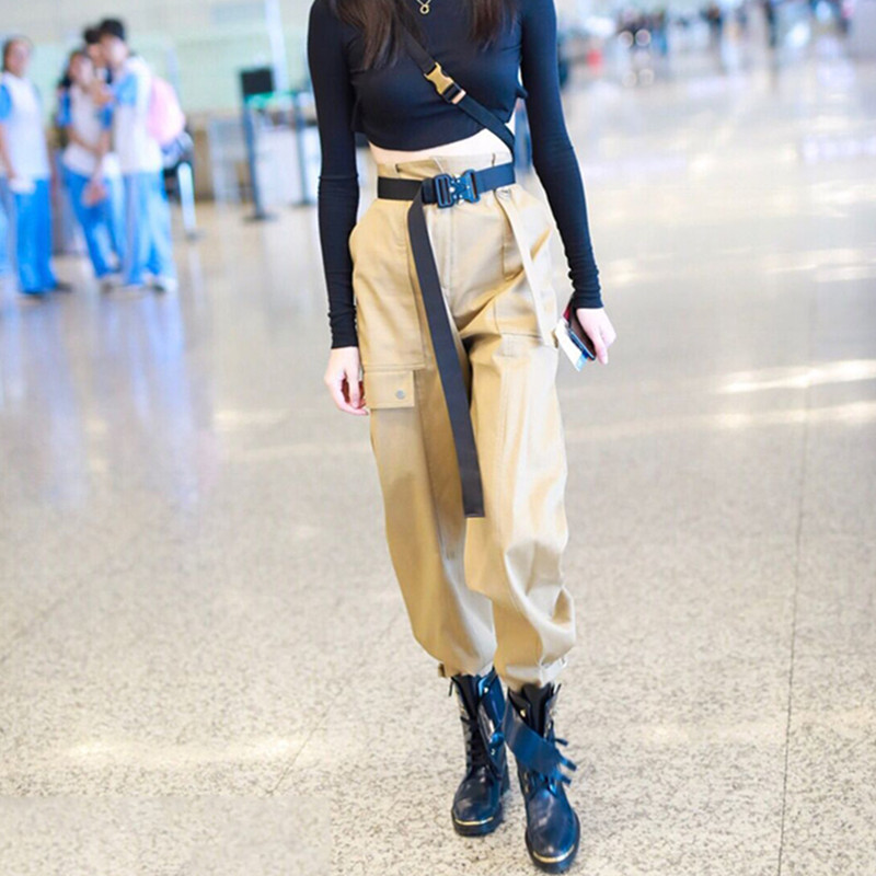 High waist   pants   Women 2018 Autumn Fashion loose Skinny camoharem   pants   streetwear punk cargo   pant   women   capris   casual trousers