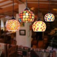 Decoración Estilo mediterránea hecho a mano turco Vintage luz colgante de cristal mosaico E27 colgante lámpara para tienda de café Café
