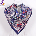Ladies Daisy Large Square Scarves 2016 New 90*90cm Spring Autumn Matt Satin Scarves Fashion Accessories Navy Blue Silk Scarf