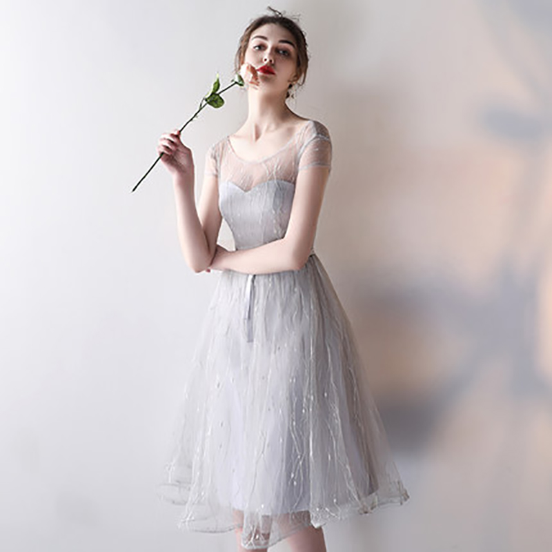 ad01d824f44 AXJFU grey lace evening dresses new grey sister bow evening dresses ...