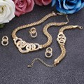 Delicate Golden Plated Jewelry Set Circle Surround Design Choker Necklace Set Hot Selling Crystal Party Accessory For Women