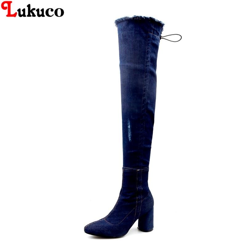 Lukuco Elegant New Zipper Boots 8 cm Heels Lady Denim Botas Oversize 36 37 38 39 40 41 42 43 Handmade Free Shipping Women Pumps 2019 lukuco winter warm plush women boots oversize 38 39 40 41 42 43 44 45 46 high quality botas custom handmade pu lady shoes