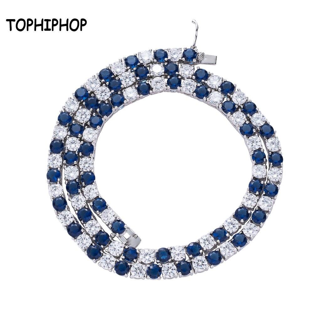 Hiphop bijoux 5 MM 1 une rangée coloré cubique Zircon pierre Tennis chaîne collier hommes blanc or laiton collier Kalung Homme