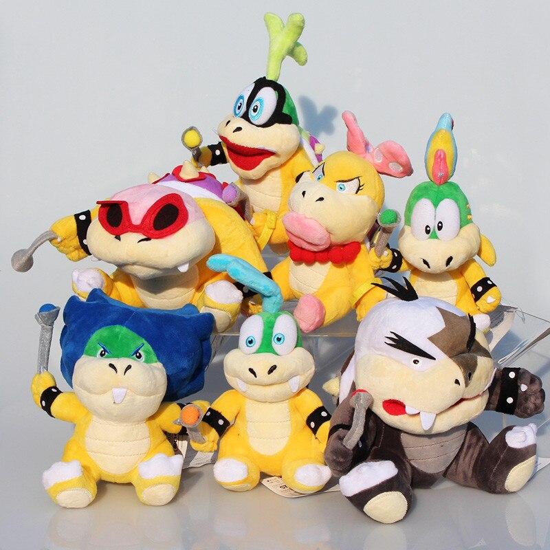 7 Pcs/Lot Super Mario Koopalings/LARRY/Ludwig/Roy/Morton/Lemmy O. Koopa jouets en peluche pour enfants livraison gratuite