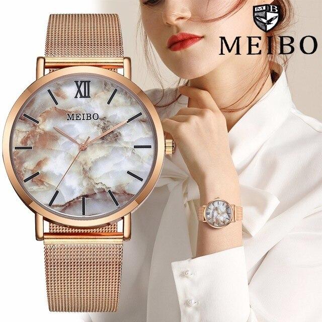 נשים דקים Creative שיש שעונים מקרית יוקרה קוורץ שעון שעון MEIBO מותג Relogio Feminino Dropshipping