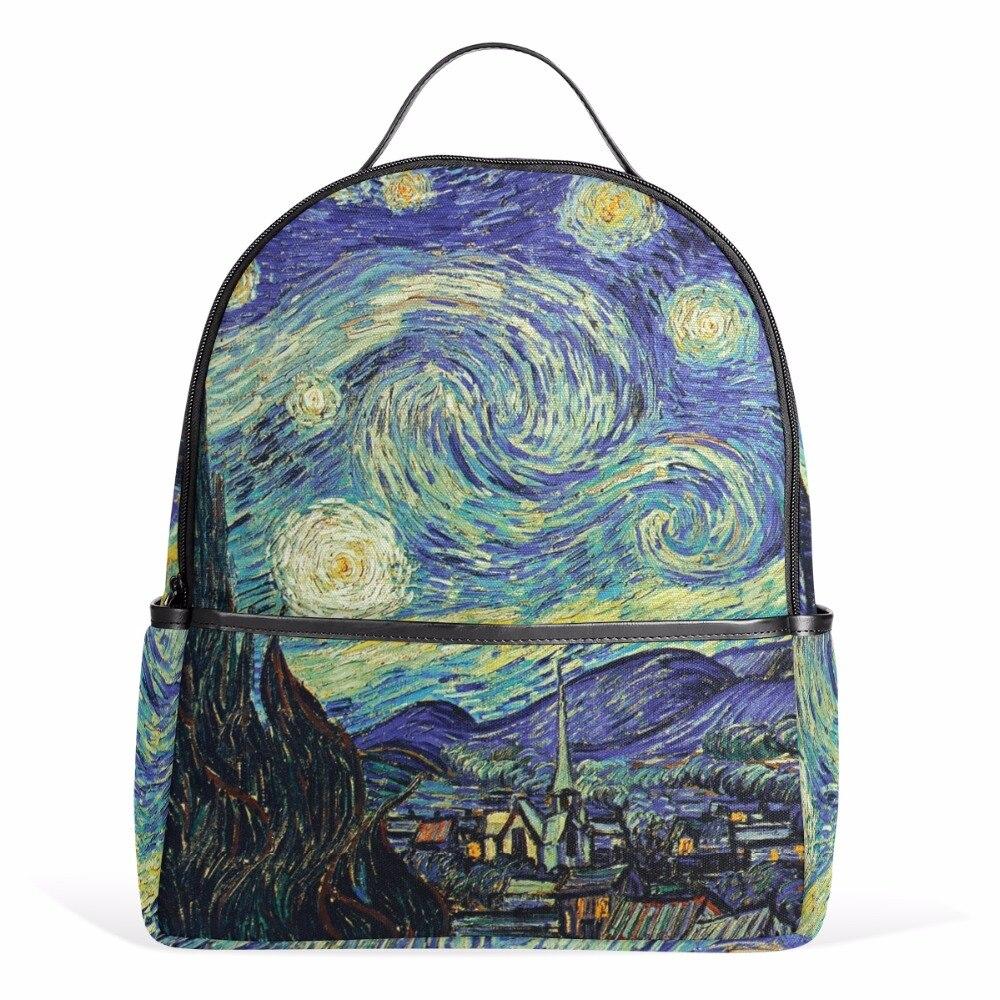 Sternennacht Rucksack Van Gogh Ölgemälde Weibliche Frauen Taschen Notebook Reißverschluss taschen für Teenager Mädchen Jungen Schultasche 12 zoll