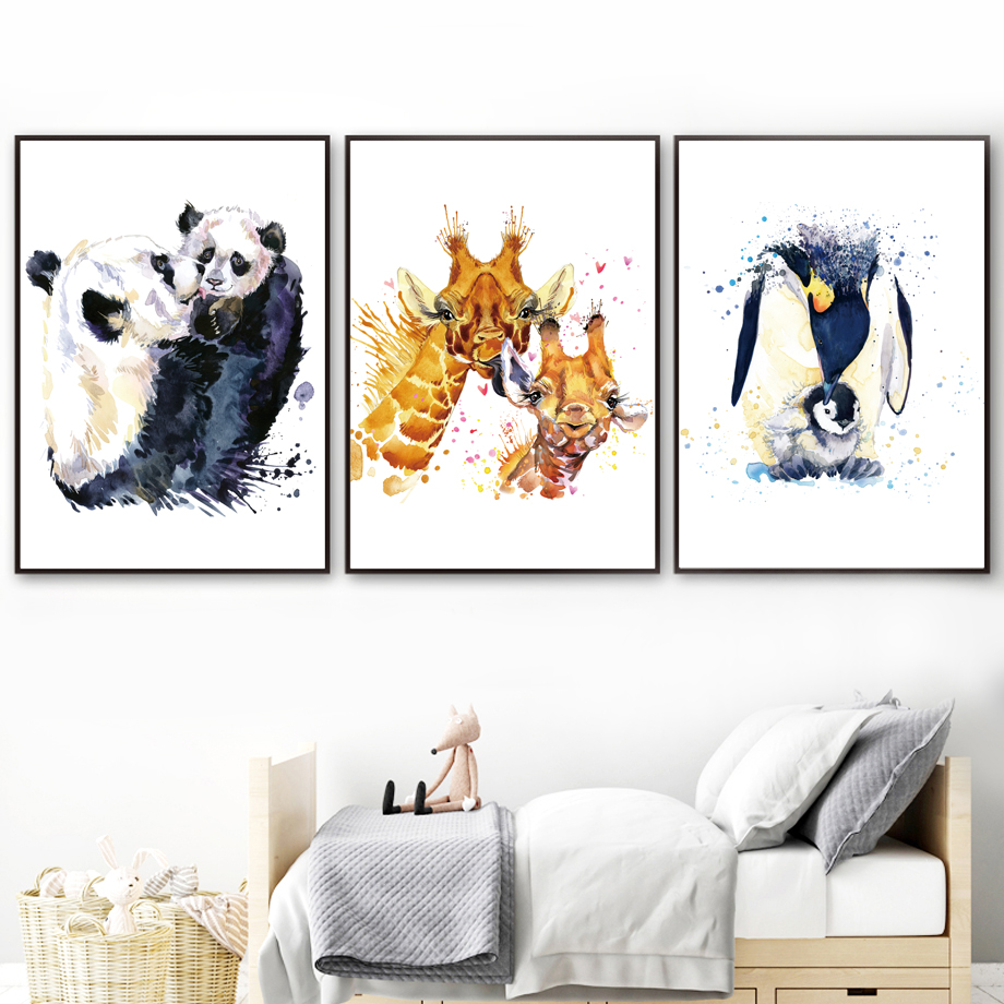 Watercolor Panda Rabbit Penguin Giraffe Fox Leopard Nordic Posters And Print Animal Wall Art Canvas Painting Wall Pictures Decor in Painting Calligraphy from Home Garden