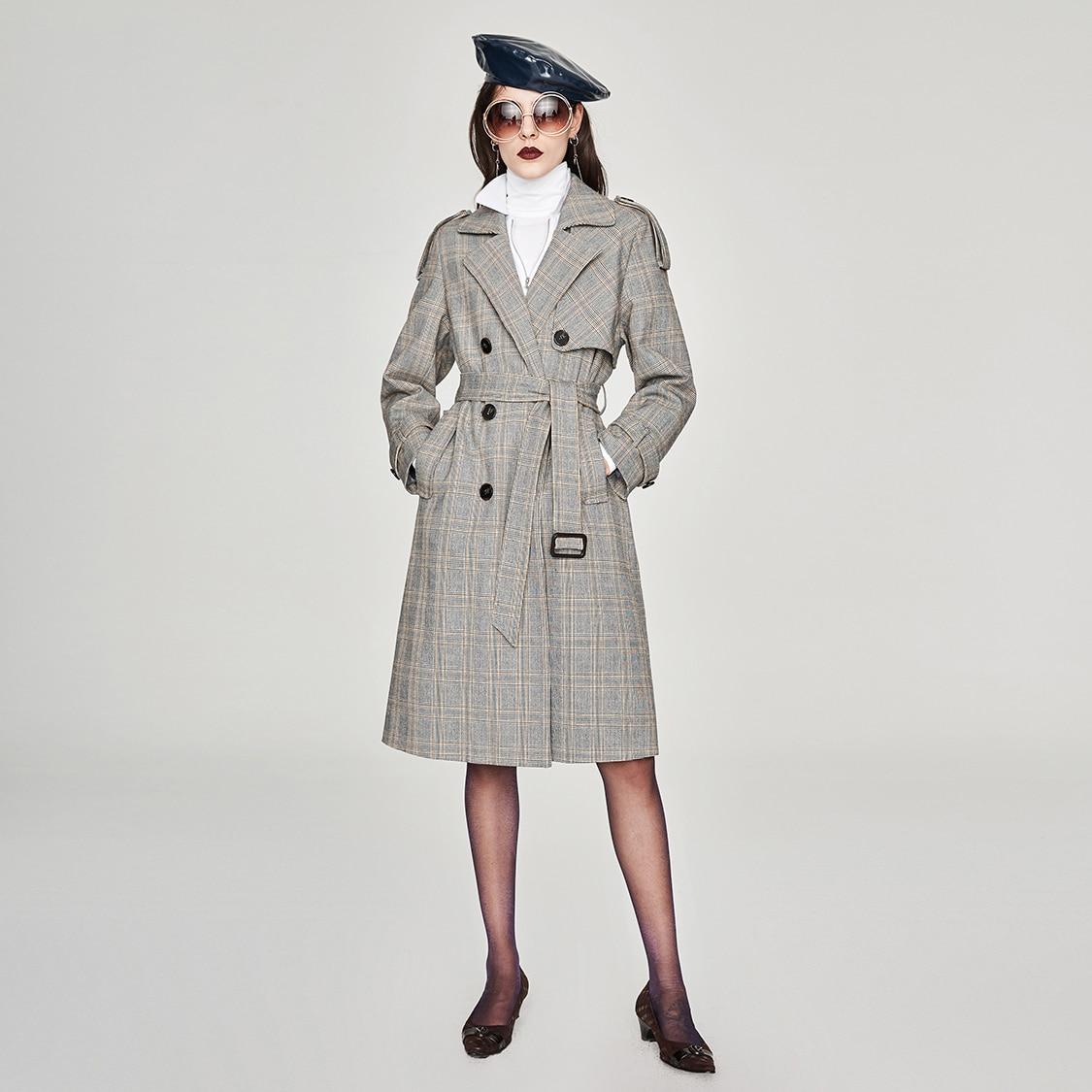 JAZZEVAR nowy 2019 jesienna moda ulicy na co dzień kobiet w stylu Vintage plaid podwójne piersi wykop płaszcz odzieży wysokiej jakości w Wełna i mieszanki od Odzież damska na  Grupa 2