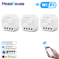 DIY Smart WiFi Light LED Dimmer Switch Smart Life/Tuya APP Remote Control 2 Way 1 Gang Switch Works with Alexa Echo Google Home