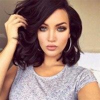 150% de Densidade Glueless Perucas Cheias Do Laço Curto Ondulado 100% Virgem Perucas de cabelo Brasileiro Do Cabelo Humano Glueless Full Lace Wigs Para mulheres