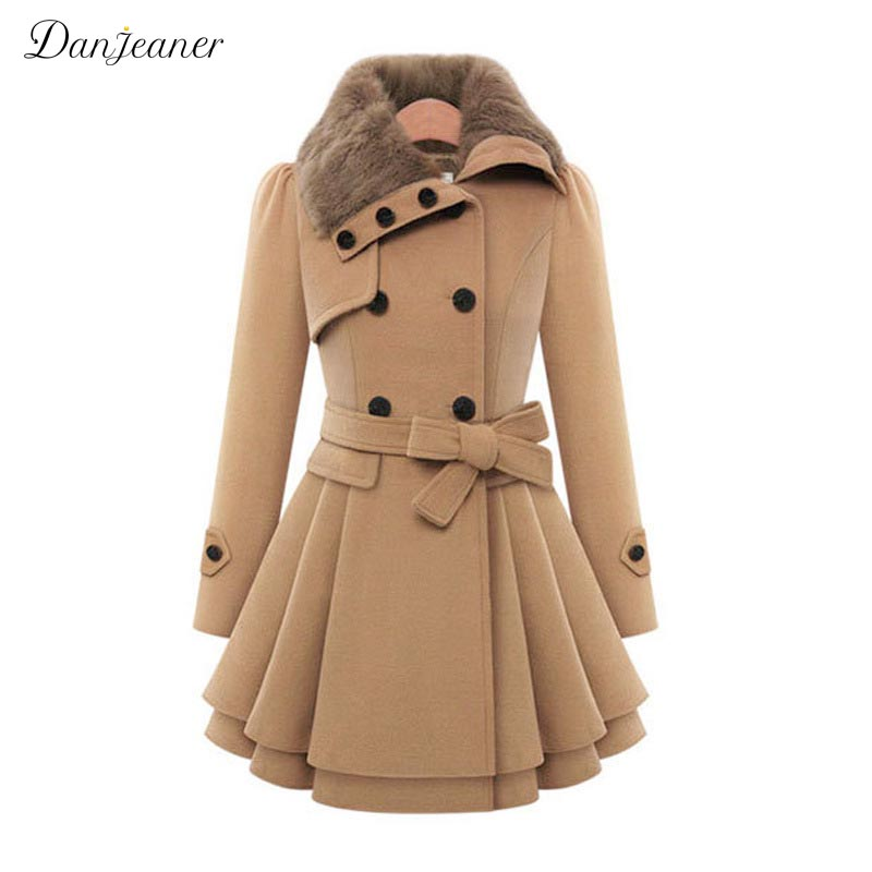 Danjeaner Classic England Style Wool Long Coat Women Plus Size Fur Collar Double Breasted Slim Winter