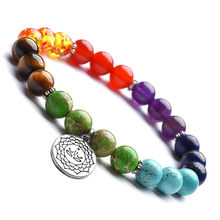 DIEZI Multicolor Energy Yoga 7 Chakra Bracelet For Men Women Natural 8mm Stones Buddhist Lotus Charm Beads Bracelets Jewelry(China)