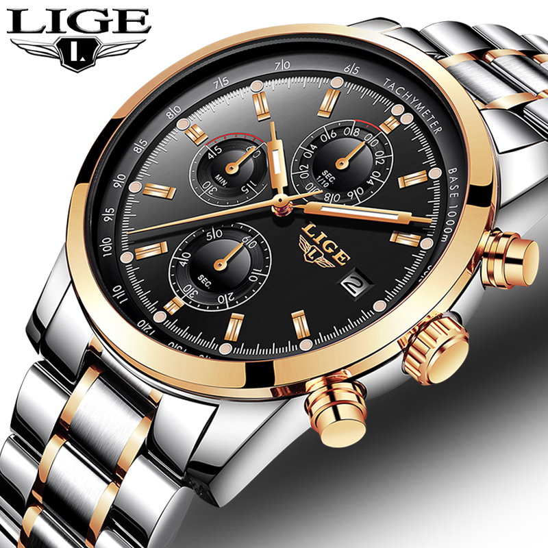 LIGE Watch Men Fashion Sport Quartz Clock Mens Watches Top Brand Luxury Full Steel Business Waterproof Watch Relogio Masculino lige fashion mens watches top brand luxury full steel waterproof gold blue sport quartz clock wrist watch relogio masculino