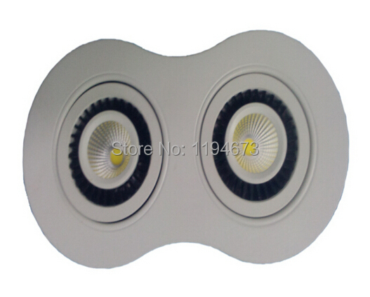 Free Shipping double head 20W (2*10w) Warm White Cold White Cob dimmable led down light AC90-240V CE Certificate