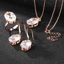 Manxiuni lujo de oro rosa de compromiso Juegos de joyería con AAA colorido cubic ZIRCON para las mujeres nupcial pendiente Sets