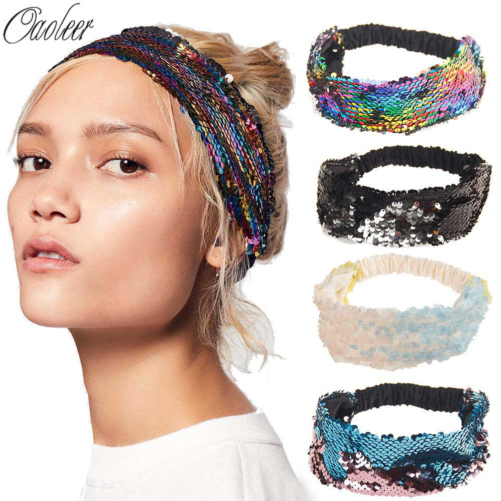 Reversible Sequin Girls Headband Mermaid Elastic Fabric Hairband Summer Style Wide Head Band For Female Women Hair Accessories